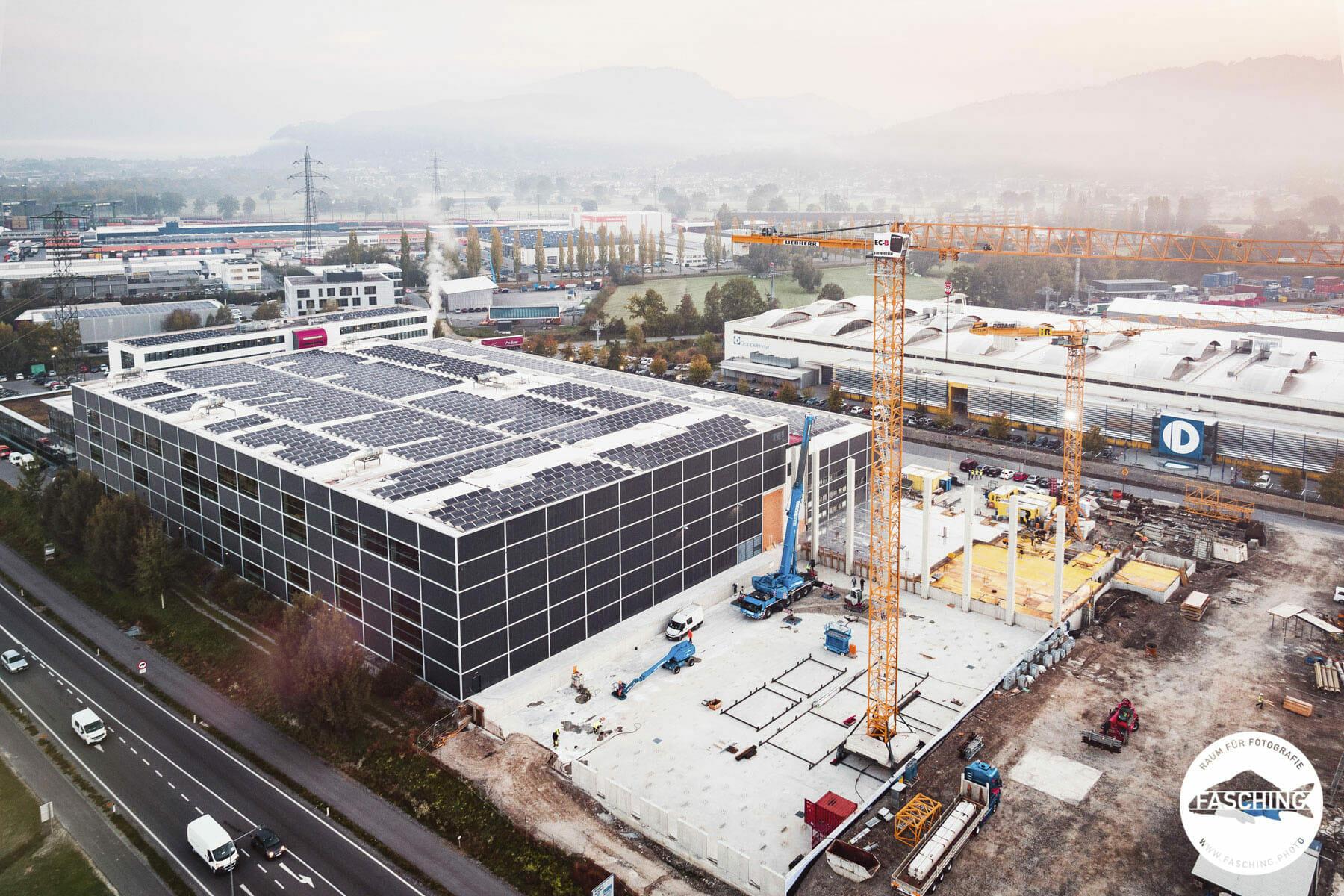 Drohnenfotografie in Wolfurt für Haberkorn in Vorarlberg von Team Fasching und Luca Fasching Industriefotograf