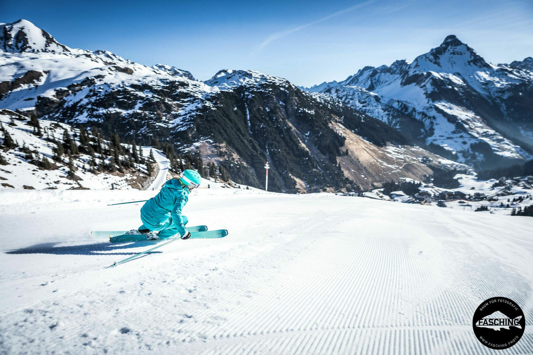 Imagebilder der Winterprodukte von Head fotografierte unser Team Fasching im vorarlberger Skigebiet in Warth Schröcken