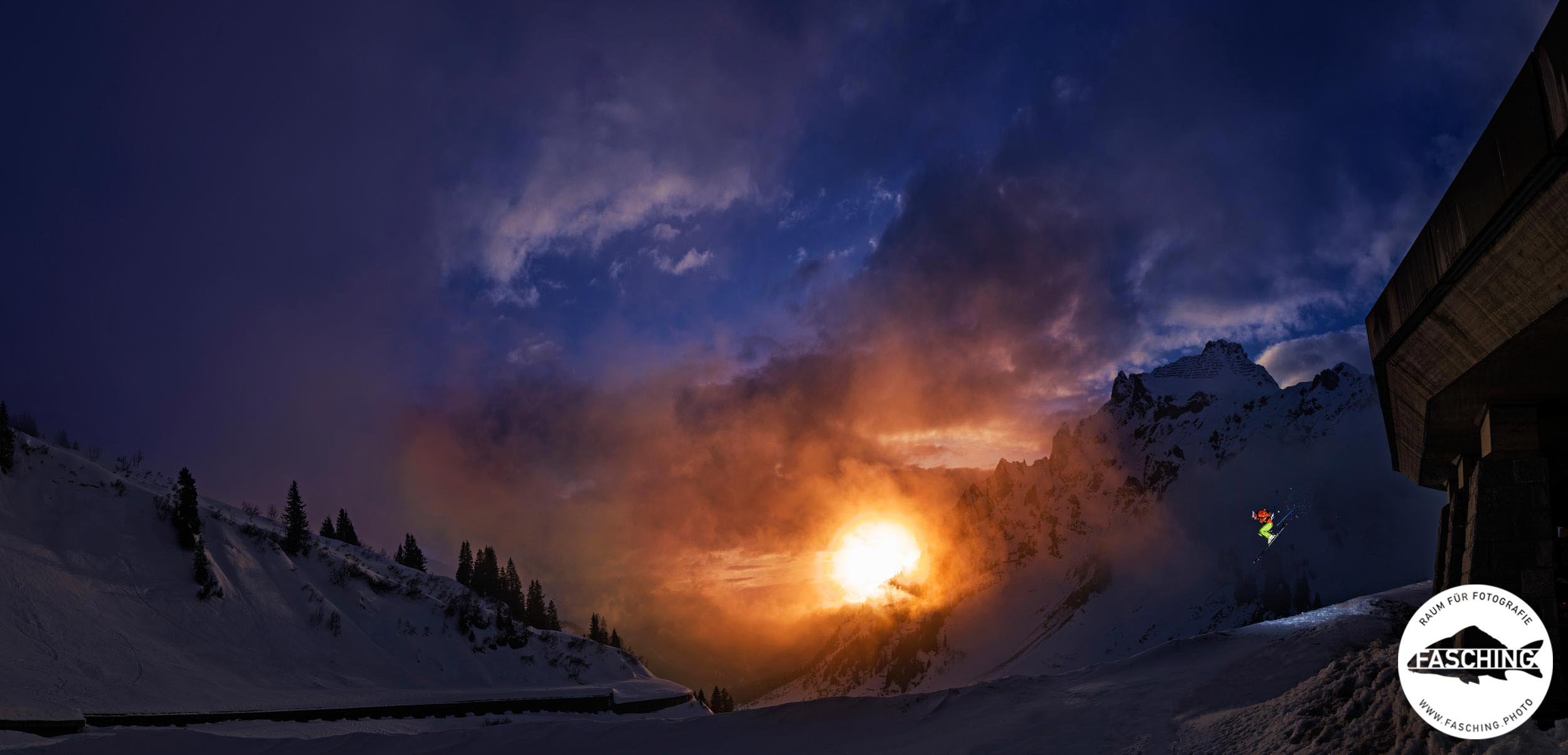 Actionbilder am Berg mit Schnee auf Ski fotografiert vom Studio Fasching in Bregenz