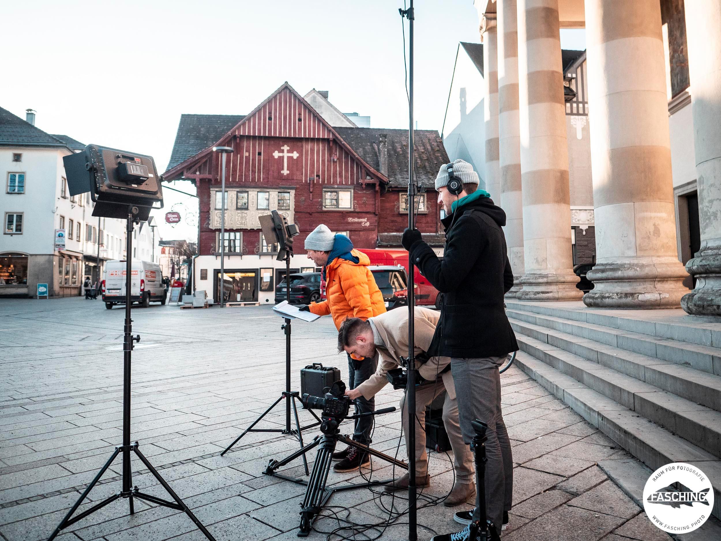 Filmproduktion mit Liveton am Dornbirner Marktplatz